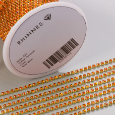 Taśma z kryształkami kolor złoty hyacinth 2mm