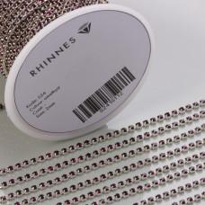 Taśma z kryształkami kolor srebrny amethyst 2mm