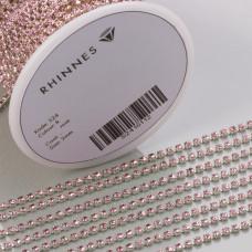 Taśma z kryształkami kolor srebrny lt. rose 2mm