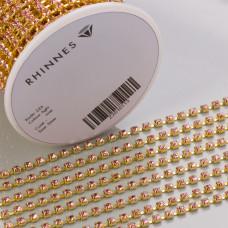 Taśma z kryształkami kolor złoty lt. rose 3mm
