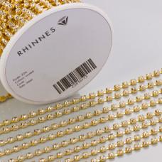 Taśma z kryształkami kolor złoty crystal 3mm