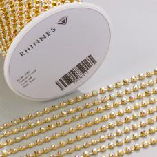 Taśma z kryształkami kolor złoty crystal AB 3mm
