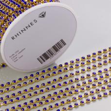 Taśma z kryształkami kolor złoty sapphire 3mm