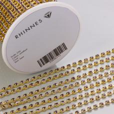 Taśma z kryształkami kolor złoty lt. amethyst 3mm