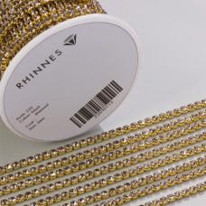 Taśma z kryształkami kolor złoty black diamond 3mm