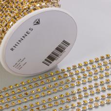 Taśma z kryształkami kolor srebrny topaz 3mm