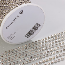Taśma z kryształkami kolor srebrny hematite 3mm