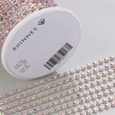 Taśma z kryształkami kolor srebrny lt. rose AB 3mm