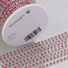 Taśma z kryształkami kolor srebrny fuchsia 3mm