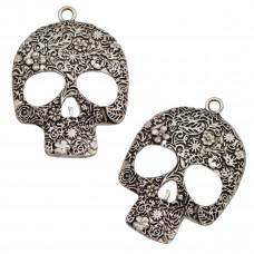 Zawieszka czaszka w kwiaty koloru srebrnego 37x50mm