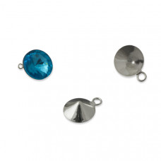 Baza do rivoli z jednym oczkiem kolor srebrny 10mm