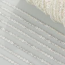 Łańcuszek z płaskich drobnych kół w kolorze srebrnym 1.7mm