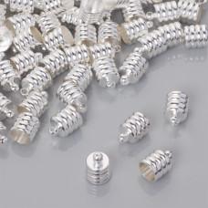 Końcówki do rzemieni rowkowane w srebrnym kolorze 6.5mm
