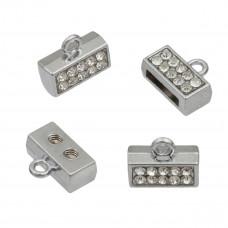 Końcówki z kryształkami koloru srebrnego 6x11mm