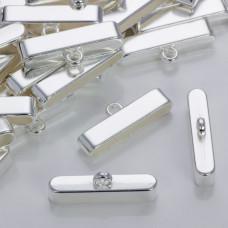Szeroka końcówka do wielu rzemieni w srebrnym kolorze 37,5x7,5mm