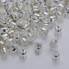Rowkowane końcówki do rzemieni i sznurków beczułki w srebrnym kolorze 5,5mm