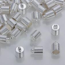 Rowkowane końcówki do rzemieni i sznurków w srebrnym kolorze 10mm