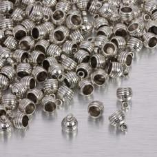 Końcówki z wcięciami w srebrnym kolorze 5.5mm