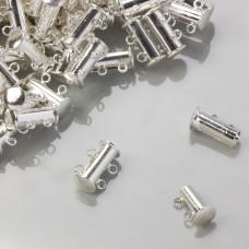 Zapięcie rozsuwane magnetyczne 2 sznurki srebrny 5x15mm