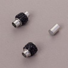 Zapięcie magnetyczne z kryształkami jet 5mm