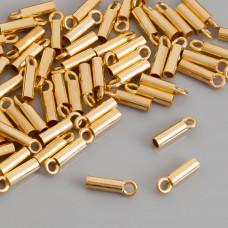 Końcówki do rzemieni i linek, Ag 925,  pozłacane 2mm