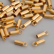 Końcówki do rzemieni i linek, Ag 925,  pozłacane 3mm