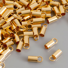 Końcówki srebrne do rzemieni pozlacane Ag 925  4mm