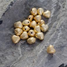 Srebrny satynowy koralik serduszko Ag925 pozłacany 7.5x8.5mm