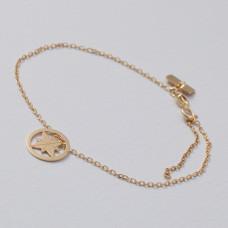 Bransoletka złocona z różą wiatrów Ag925 17 cm