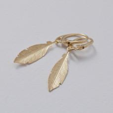 Kolczyki złocone pióra Ag925 47 mm