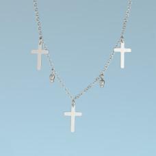 Srebrny, rodowany naszyjnik z krzyżykami, próba Ag925 34-38cm
