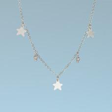 Srebrny, rodowany naszyjnik z gwiazdkami, próba Ag925 34-38cm