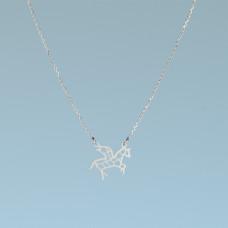 Srebrny rodowany naszyjnik pegaz, próba Ag925 44-46cm