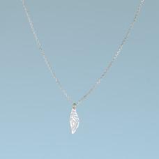 Srebrny rodowany naszyjnik ażurowy listek, próba Ag925 44-46cm