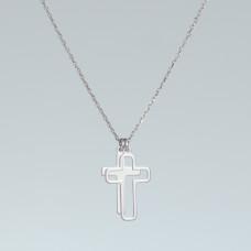 Naszyjnik rodowany z dwoma krzyżami AG925 45 cm