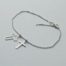 Bransoletka rodowana z dwoma krzyżami AG925 17 - 20 cm
