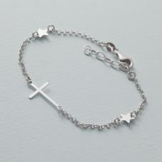 Bransoletka z krzyżem i gwiazdkami rodowana AG925 18 - 21 cm