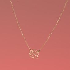 Srebrny, pozłacany naszyjnik róża, próba Ag925 44-46cm
