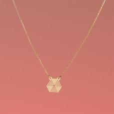 Srebrny, pozołcany naszyjnik trójkąty geometryczne, próba Ag925 44-46cm