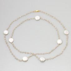 Naszyjnik srebrny pozłacany kryształ z perłami, próba 925 92cm