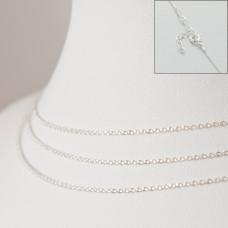 Srebrny łańcuszek z przedłużką rollo płaskie kółka, próba Ag925 44cm