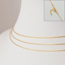 Srebrny, pozłacany łańcuszek z przedłużką cardano, próba Ag925 44cm