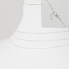Srebrny łańcuszek z zapięciem płaskie owale, próba Ag925 46cm