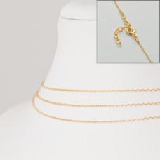Srebrny, pozłacany łańcuszek z zapięciem forza, próba Ag925 45cm