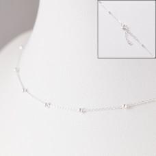 Srebrny łańcuszek simple z kuleczkami z przedłużką, próba Ag925 44cm