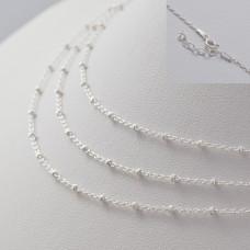 Gotowy łańcuszek ozdobny z oponkami diamentowanymi AG925 45cm