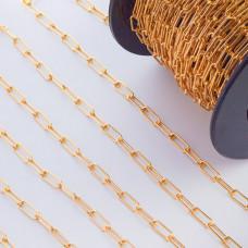 Łańcuch srebrny podłużne owale  pozłacane AG925 13,3x5mm