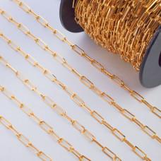 Łańcuch srebrny podłużne owale ścinane  pozłacane AG925 13,5x4,8mm