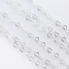 Srebrny łańcuszek serduszka AG925 4x3,5mm
