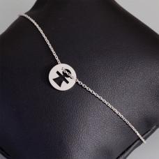 Bransoletka srebrno rodowane dziewczynka, Ag925 20cm